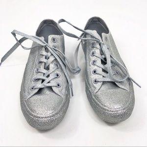 Converse Silver Gray Sparkle Glitter Sneakers Sz 9